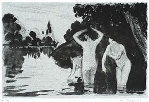 baigneuses (le jour) [women bathing:day]baigneuses (le jour) [women bathing:day] by camille pissarro